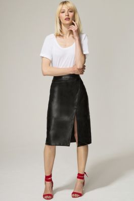 Leather Look Wrap Skirt