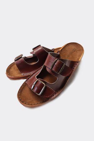 Premium Handcrafted 2 Strap Leather Men's Sliders