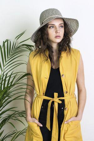 Button Detail Women's Sun Hat