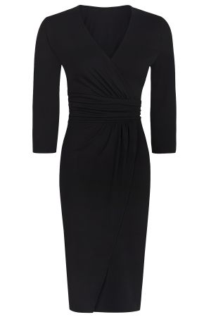 Ascot Mock-Wrap Dress