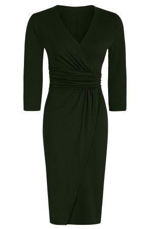Ascot Mock-Wrap Dress