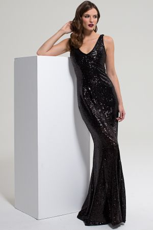 V Neck Sequin Maxi Dress