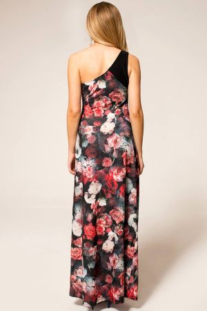 One Shoulder Floral Maxi Dress