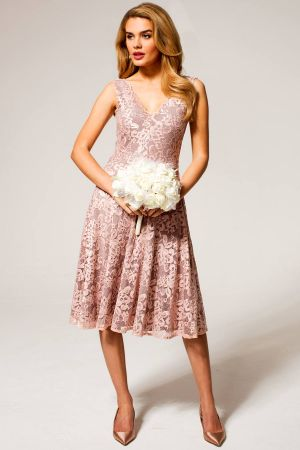 V-Neck Floral Lace Dress