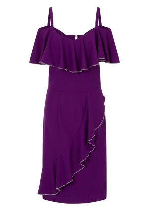 Metallic Trimmed Bardot Dress