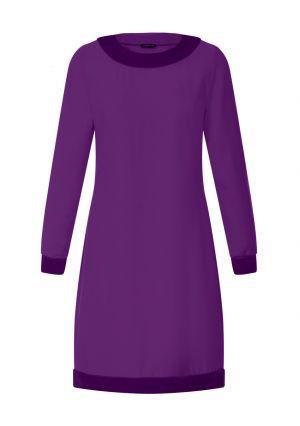 Velvet Detail Long Sleeved Swing Dress