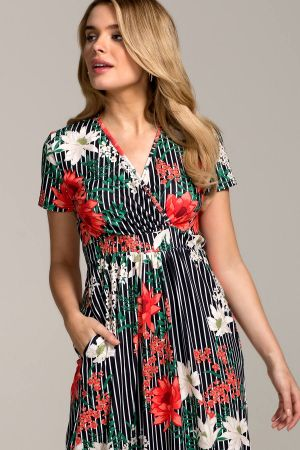 Short Sleeve Wrap Empire Line Maxi Dress