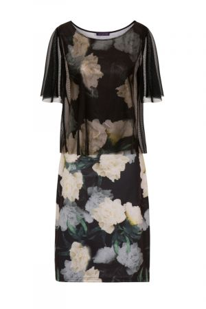 Patterned Shift Dress with Sheer Overlay