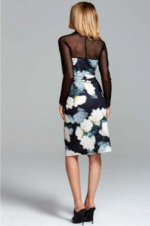 Print Jersey Dress with Sheer Sleeves