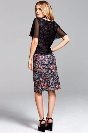 Embroidery Print Sheer-Layered Shift Dress