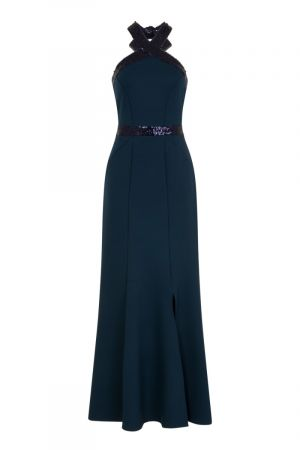 Halterneck Maxi Evening Gown with Sequins