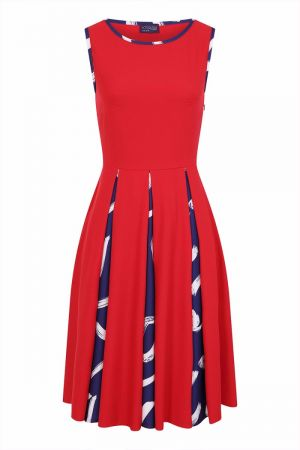 Box Pleat Contrast Midi Dress