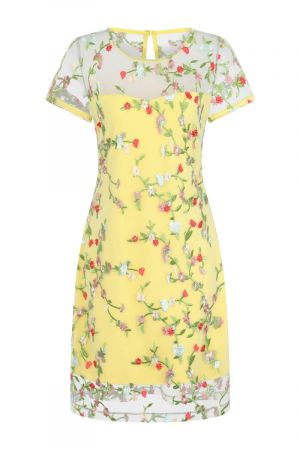 Embroidered Cap Sleeve Party Dress