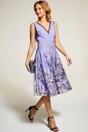 Embroidered V Neck Fit n Flare Dress