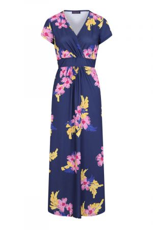 Floral Short Sleeved Empire Line Maxi Dress