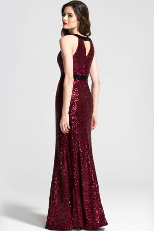 Sequin Maxi Keyhole Dress