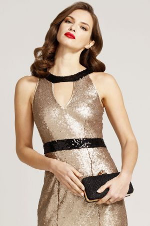 Sequin Maxi Keyhole Dress
