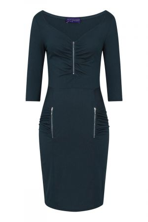 Ruched Sweetheart Dress with Zip Detail