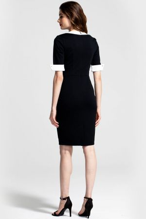 Contrast Collar Short-Sleeved Dress