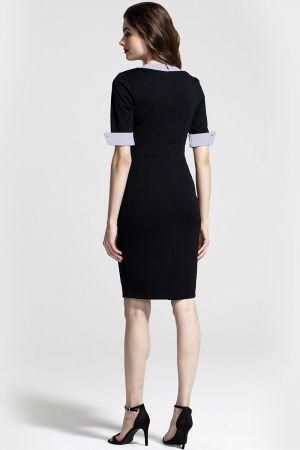 Contrast Collar Short-Sleeved Dress