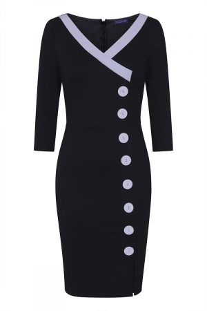50s Silky Trimmed Button Wiggle Dress