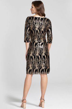 Knee-length Sequin Dress with Sleeves