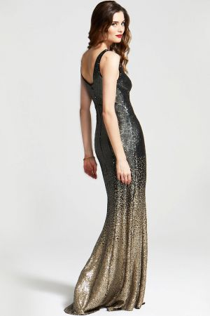 V Neck Sequin Maxi Dress