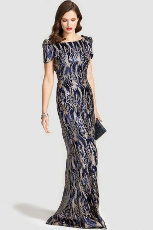 Cowl Back Maxi Sequin Dress