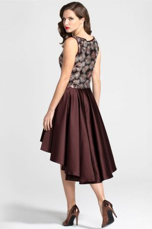 Boat Neck Midi Dress with High Low Skirt