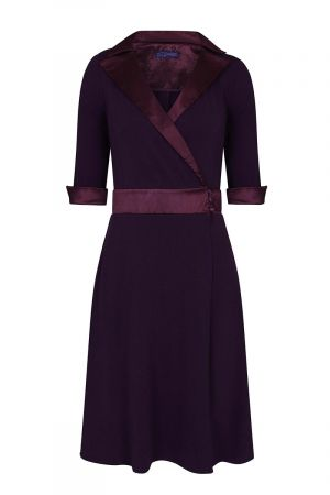 Fit & Flare Wrap Dress with Silky Trim