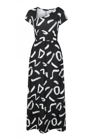 Asymmetric Neckline Jersey Maxi Dress