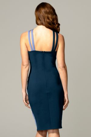 Halterneck Colour Contrast Dress