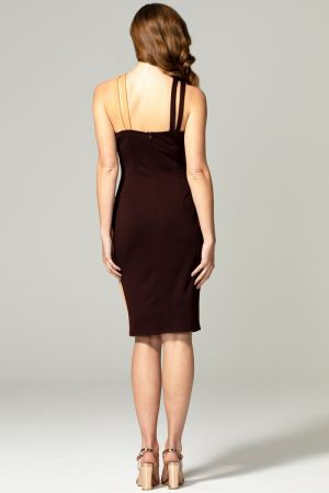 Halterneck Colour Contrast Dress