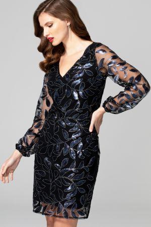 Blouson Sleeved V Neck Sequin Dress