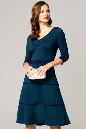 V Neck Dress with Contrast Piping