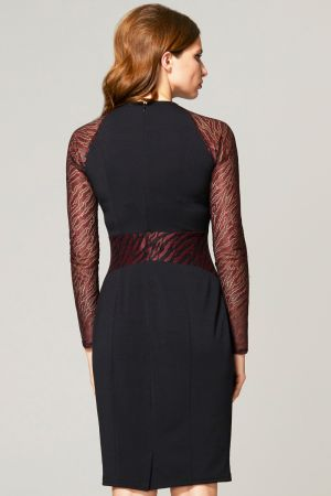 Lace Sleeve Keyhole Detail Dress