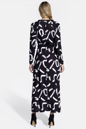 Long Sleeve Maxi Dress with Neck Tie