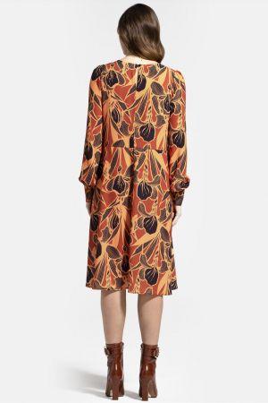 Chiffon Loose Dress with V Neck