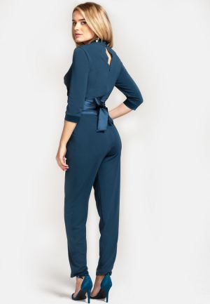 Two third sleeve jumpsuit with silky waistband