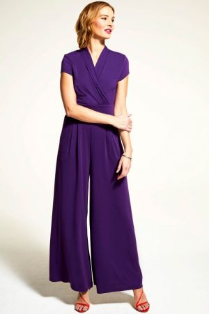 Cap Sleeved Wide Leg Jumpsuit