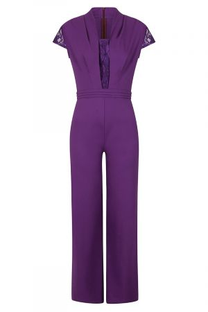 Crepe Jumpsuit with Lace Detail