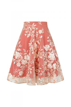 Flared Embroidered Skirt