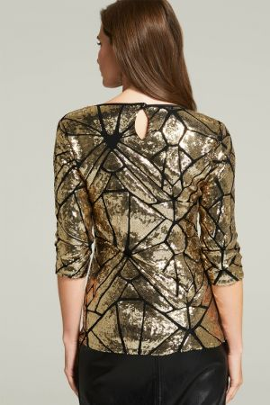3/4 Sleeve V Neck Sequin Top