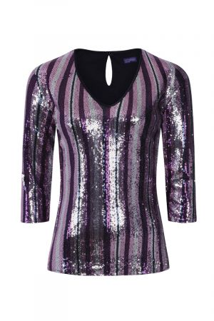 V Neck Sequin Party Top