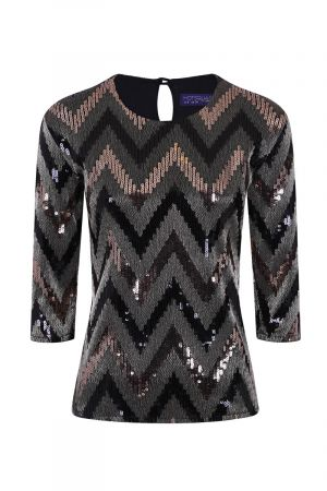 Round Neck Sequin Party Top