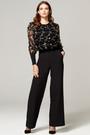 Blouson Sleeved Embroidered Top