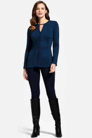 Jersey Keyhole Top with Contrast Seams